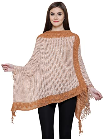 1ac47e2fc Matelco Brown & White Women's Woolen Long Knitted Poncho (Free Size ...