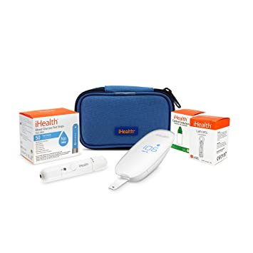 iHealth Smart Wireless Blood Sugar Test Kit for iPhone & Android,Bluetooth  Diabetes Testing Kit with 50