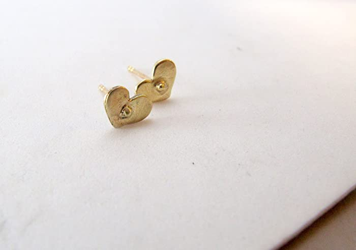 3d2ab3a44 Image Unavailable. Image not available for. Color: Tiny Solid Gold Heart  Stud Earrings ...