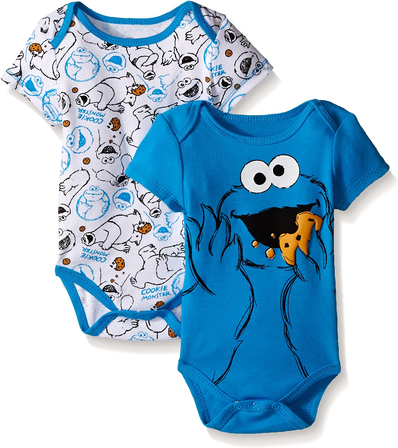 Baby Boys Sesame Street One Piece Bodysuit Short Sleeve 2 Pack Infant Bodysuits