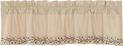 Piper Classics Twig Berry Vine Valance, 16 x 60 , Beige w Embroidered Berries, Farmhouse Country Primitive Curtain