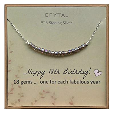 Efytal 18th Birthday Gifts For Girls Sterling Silver Necklace 18 Beads For 18 Year Old Girl Jewelry Gift Idea