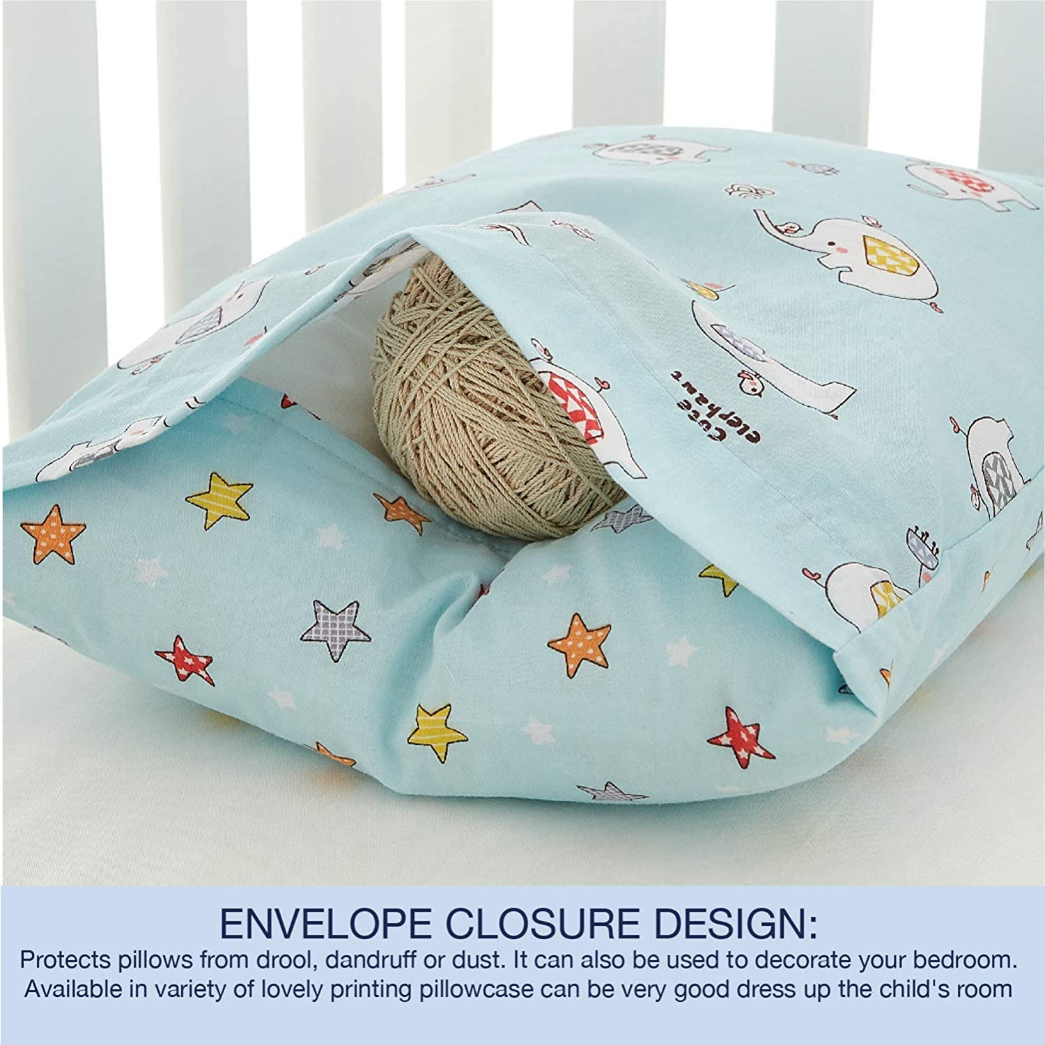 EXQ Home Toddler Pillowcases 14x20 Cotton Travel Pillow Case Set of 2,Small Pillow Case Fits Baby Pillows Sized 12x16 Machine Washable Baby Pillow Case with Envelope Closure Cats Family 13x18
