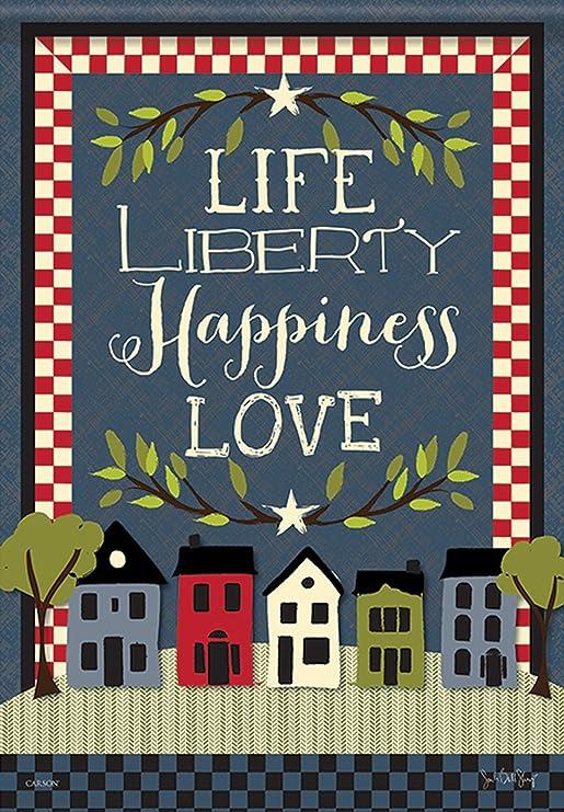 Vida a la libertad felicidad jardín bandera de estrellas y rayas doble cara Love 12, 5