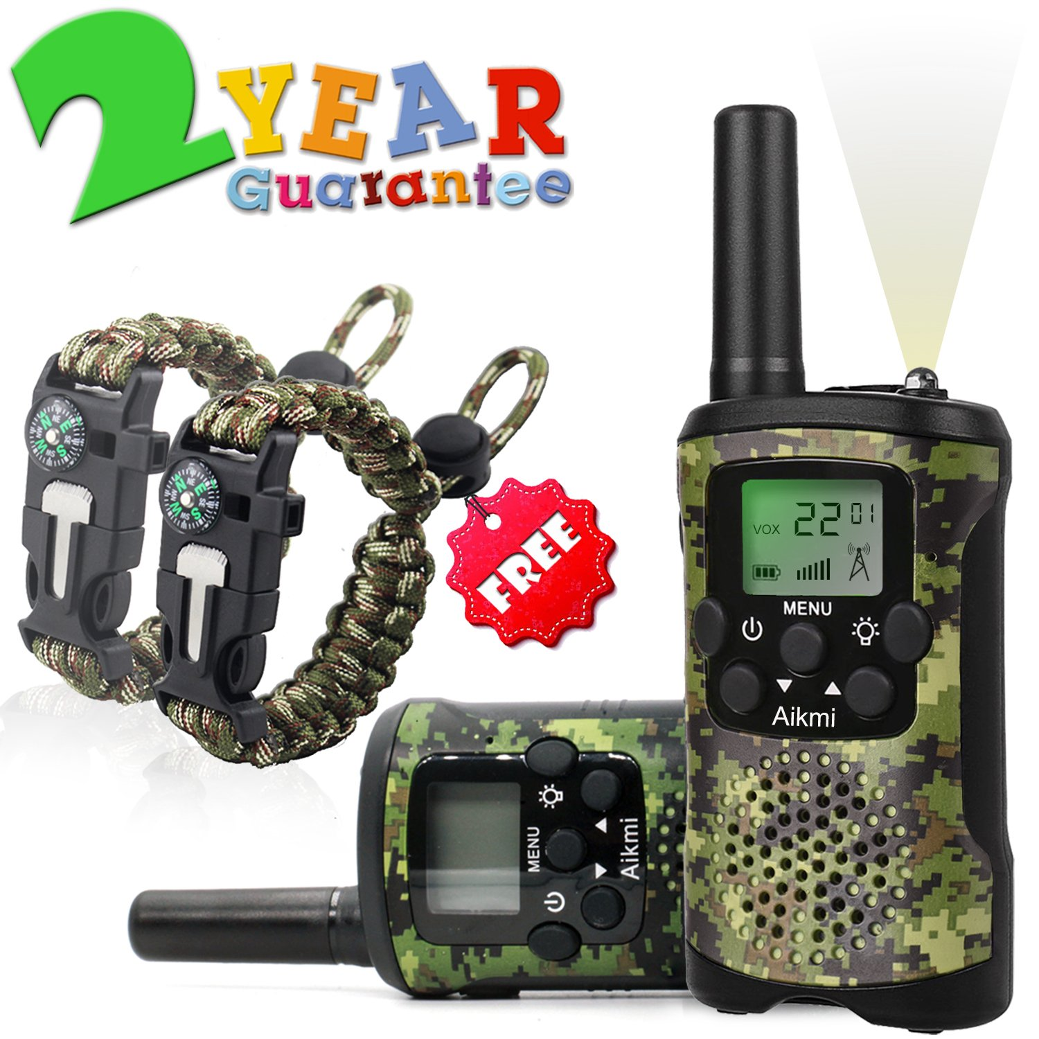 Walkie Talkies for Kids 22 Channel 2 Way Radio 3 Miles Long Range Handheld Walkie Talkies Durable Toy Best Birthday Gifts for 6 year old Boys and Girls fit Outdoor Adventure Game Camping (Green Camo) by Aikmi (Image #1)