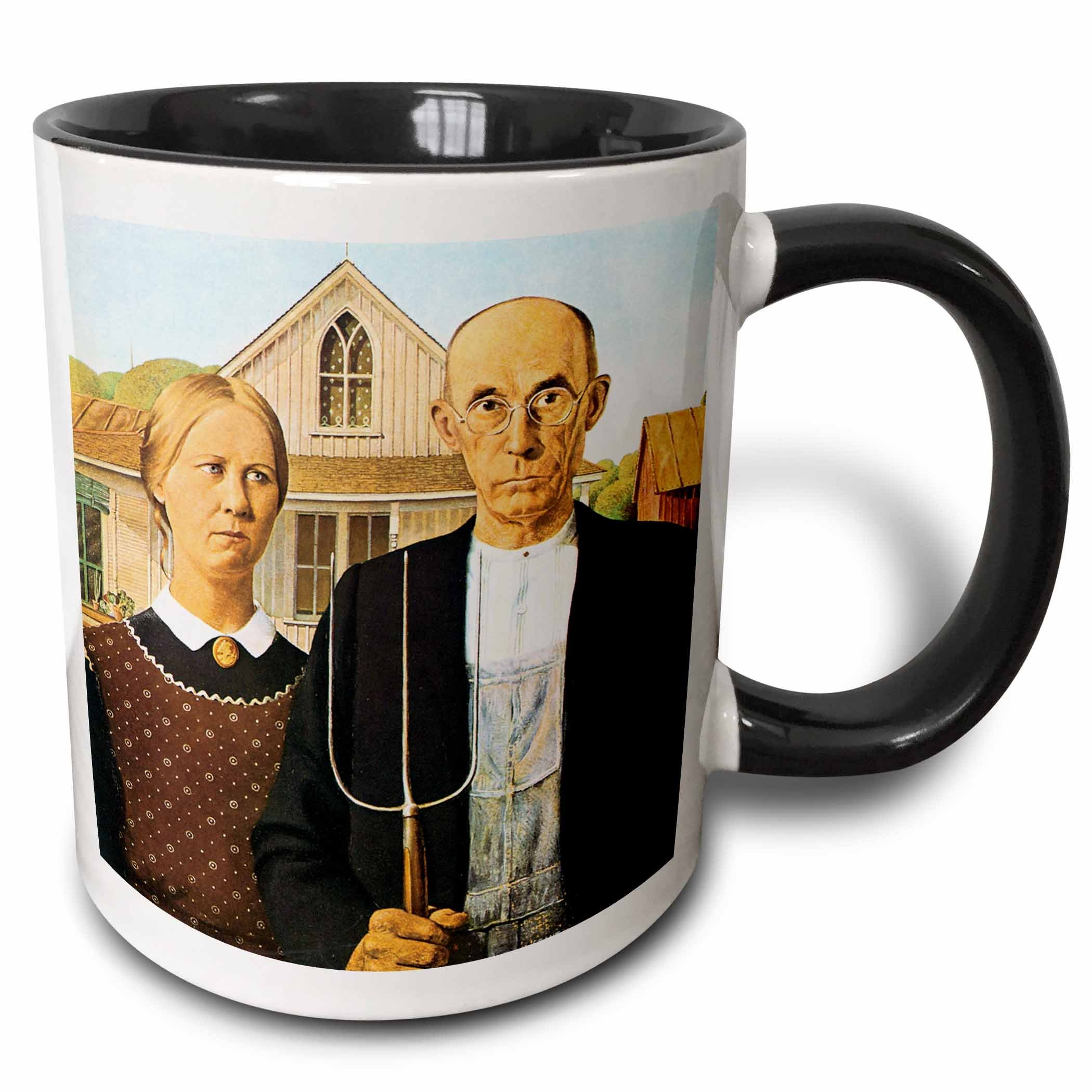 3dRose American Gothic by Grant Wood Mug, Black, 11 oz