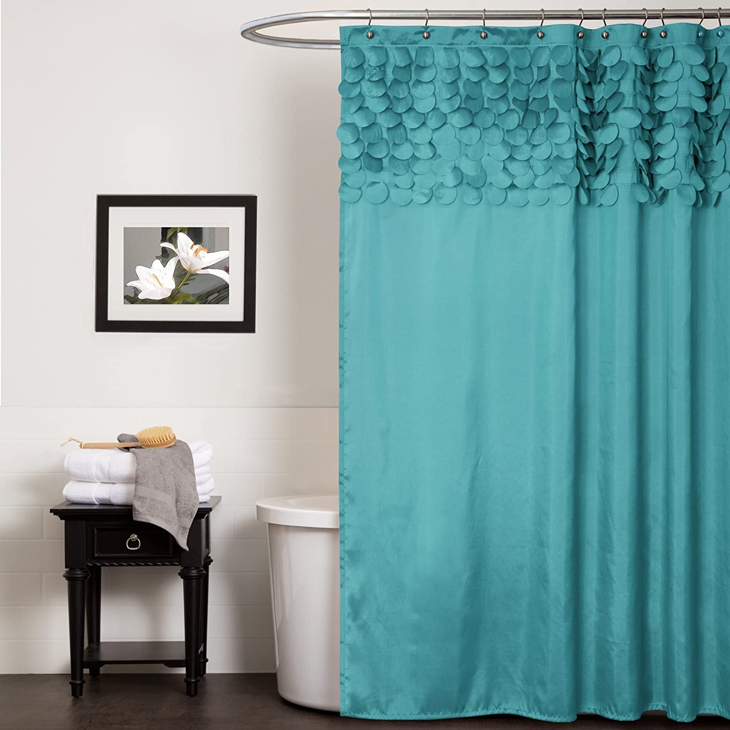 Amazon.com: Lush Decor Lillian Shower Curtain, 72 by 72-Inch ...