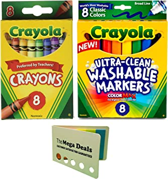 Crayola Broad Point Washable Markers 8 Ct Crayons 24 Count Construction Paper Pad