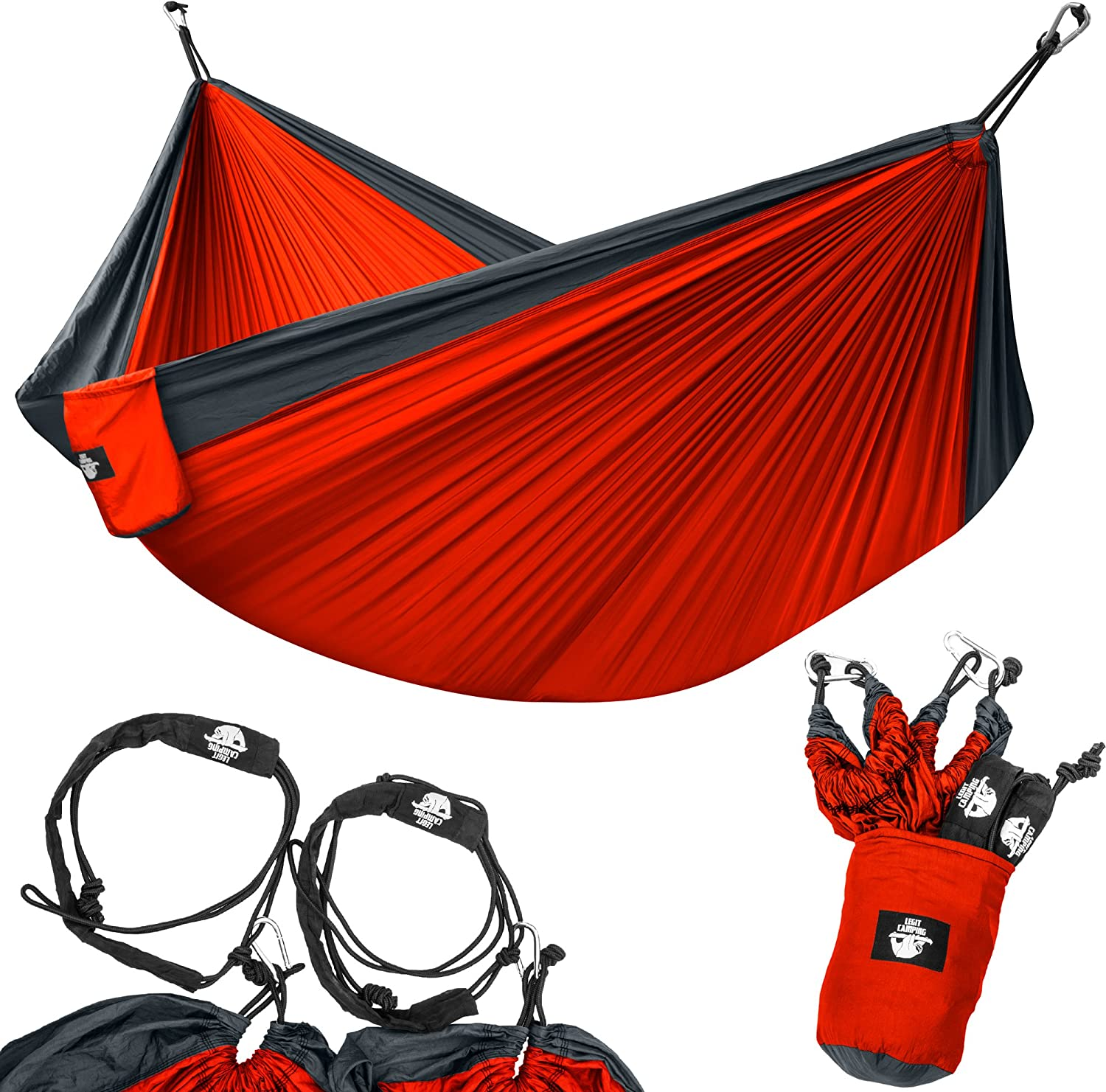 Legit Camping Portable Double Hammock - Charcoal/Red - 400 lb Weight Capacity