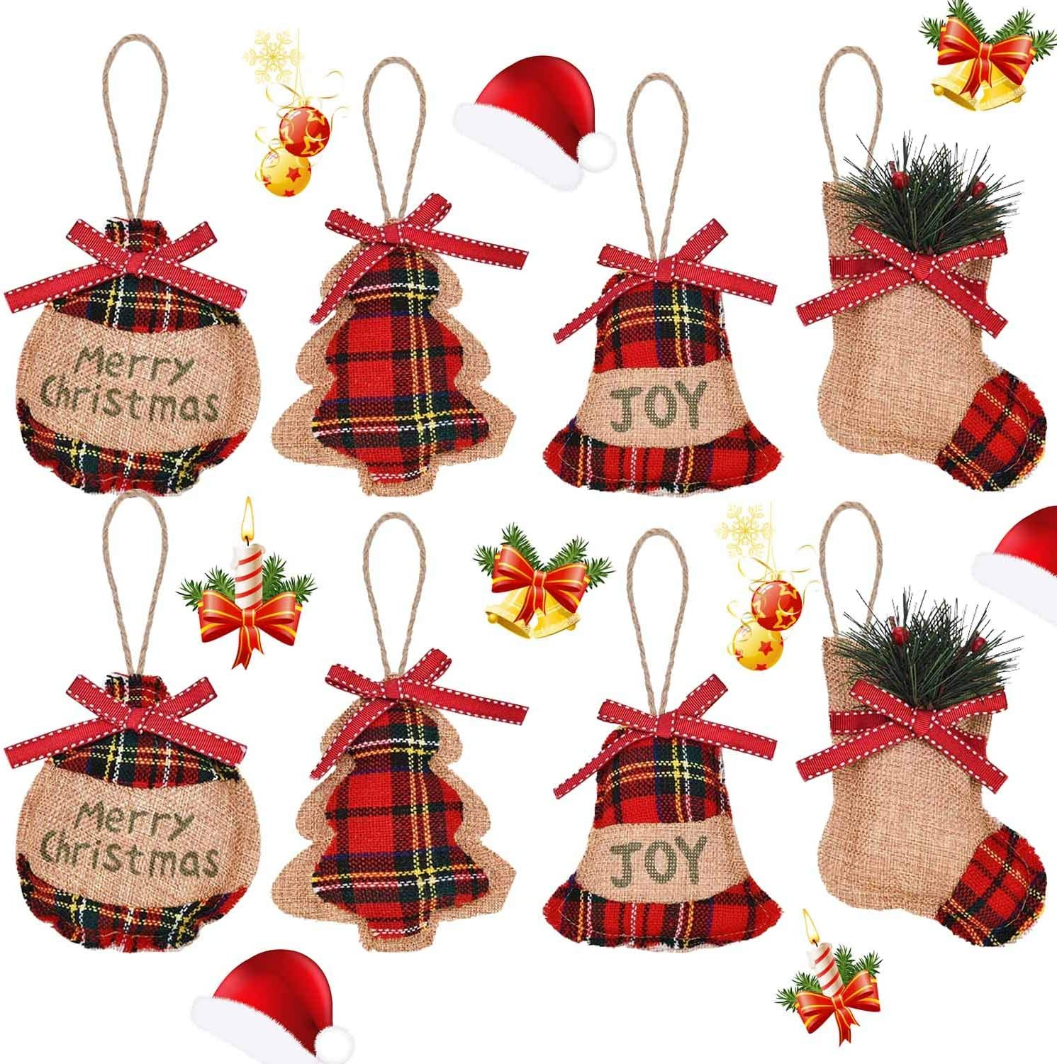 8 Pack Rustic Christmas Tree Ornaments Hanging Decorations Christmas Stocking Ball Tree Star Shapes, Plaid Burlap Country Christmas Ornaments for Christmas Holiday Party Home Decor (4 Styles)