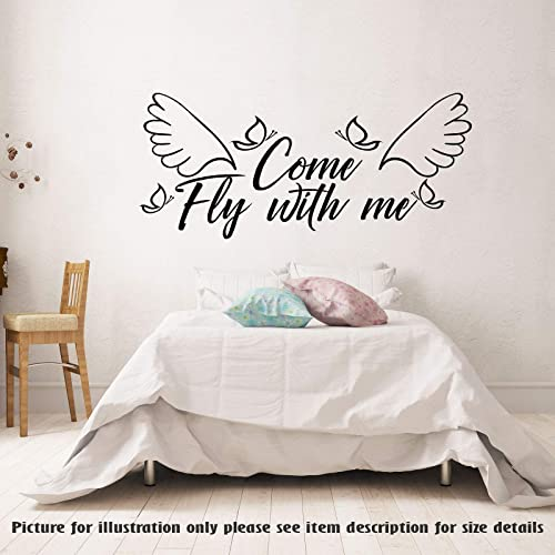 Amazon Com Come Fly With Me Removable Vinyl Wall Art Stickers Couple Bedroom Decal Romantic Wall Art Decal Home Decor Family Quote Sticker Handmade