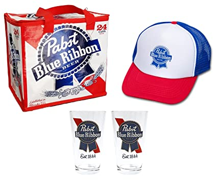 9c72a089b Pabst Blue Ribbon Combo Gift Pack - PBR Beer Tote Cooler Bag, PBR Beer  Glasses and PBR Trucker Hat