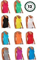 Tank Tops For Women, Ribbed Racerback Tank Top Assorted Colors -12 Pack …