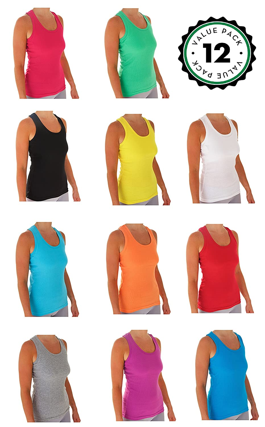 Tank Tops For Women, Ribbed Racerback Tank Top Assorted Colors -12 Pack