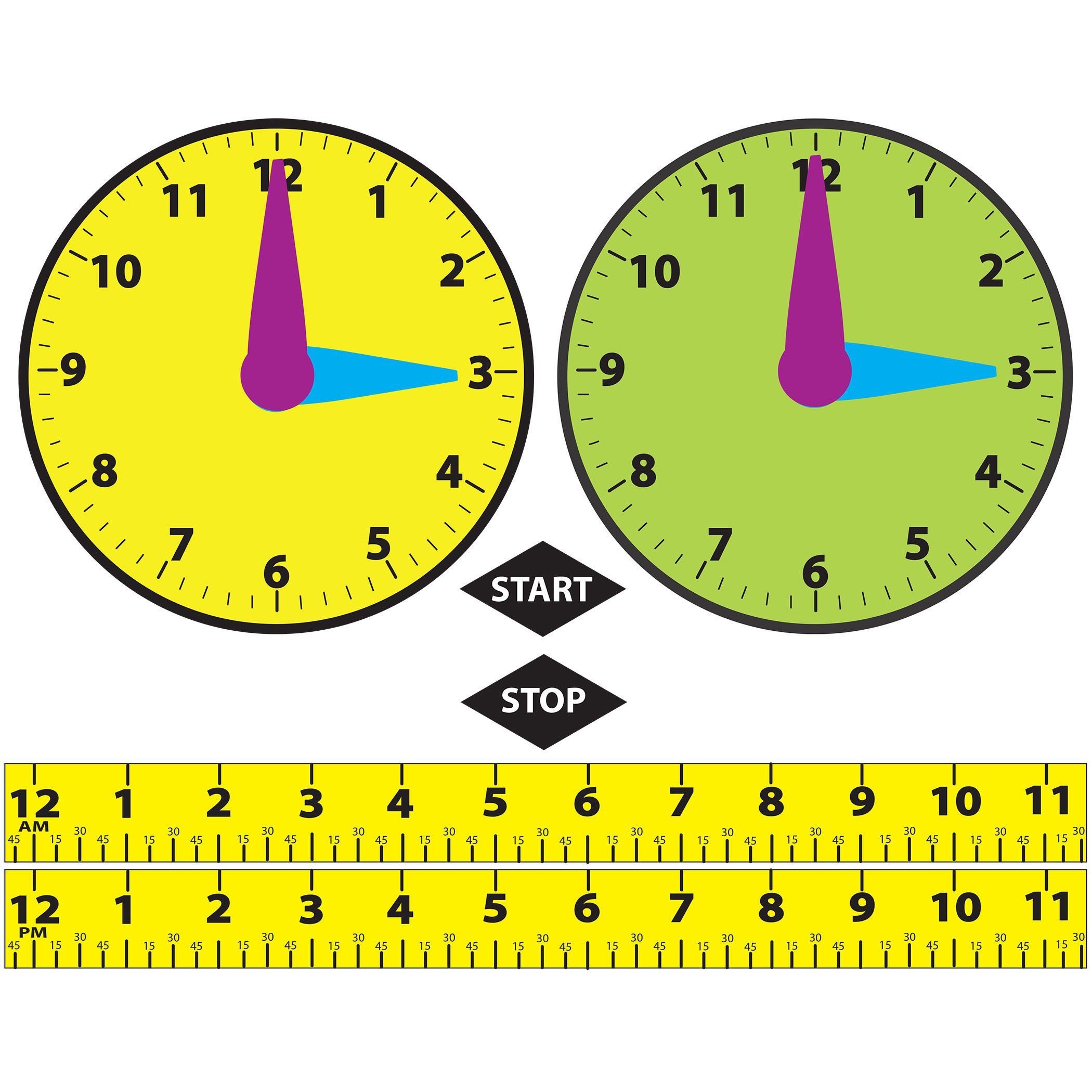 Ashley Productions Math Die-Cut Magnetic Elapsed Time Teaching Set