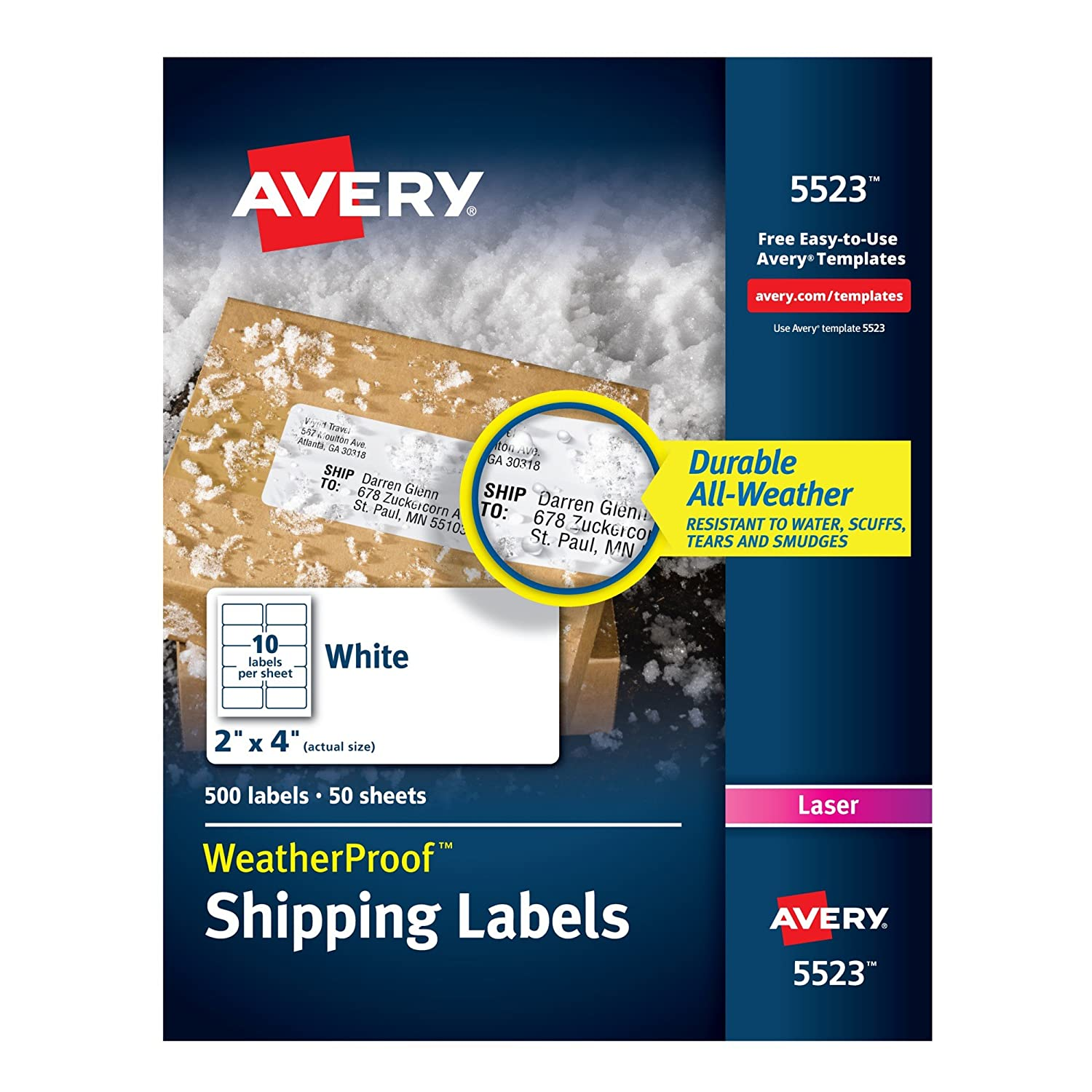 Avery Weatherproof Laser Shipping Labels 2 X 4 500pack 5523