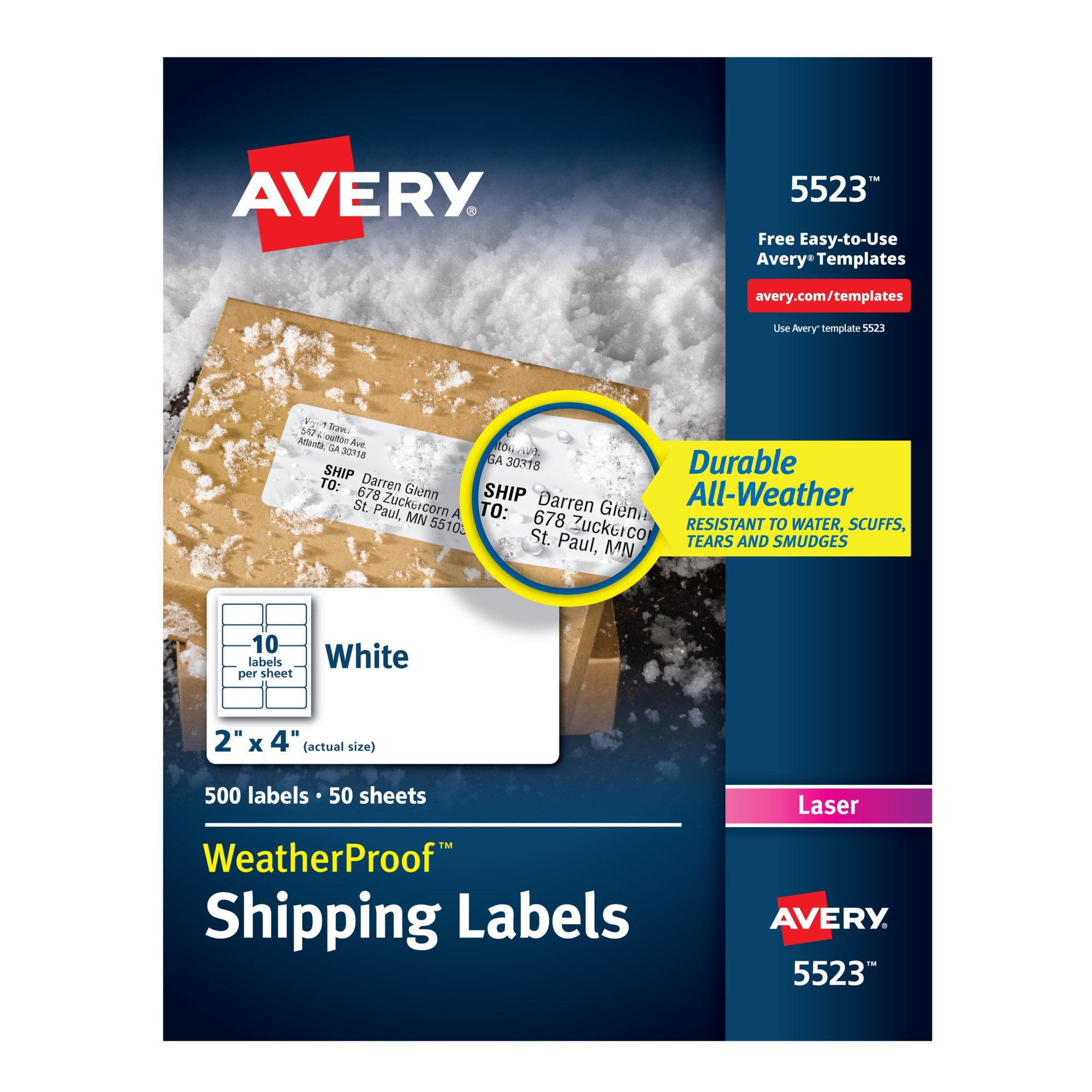 Avery Weatherproof Laser Shipping Labels, 2'' x 4'', 500/Pack (5523), White by AVERY