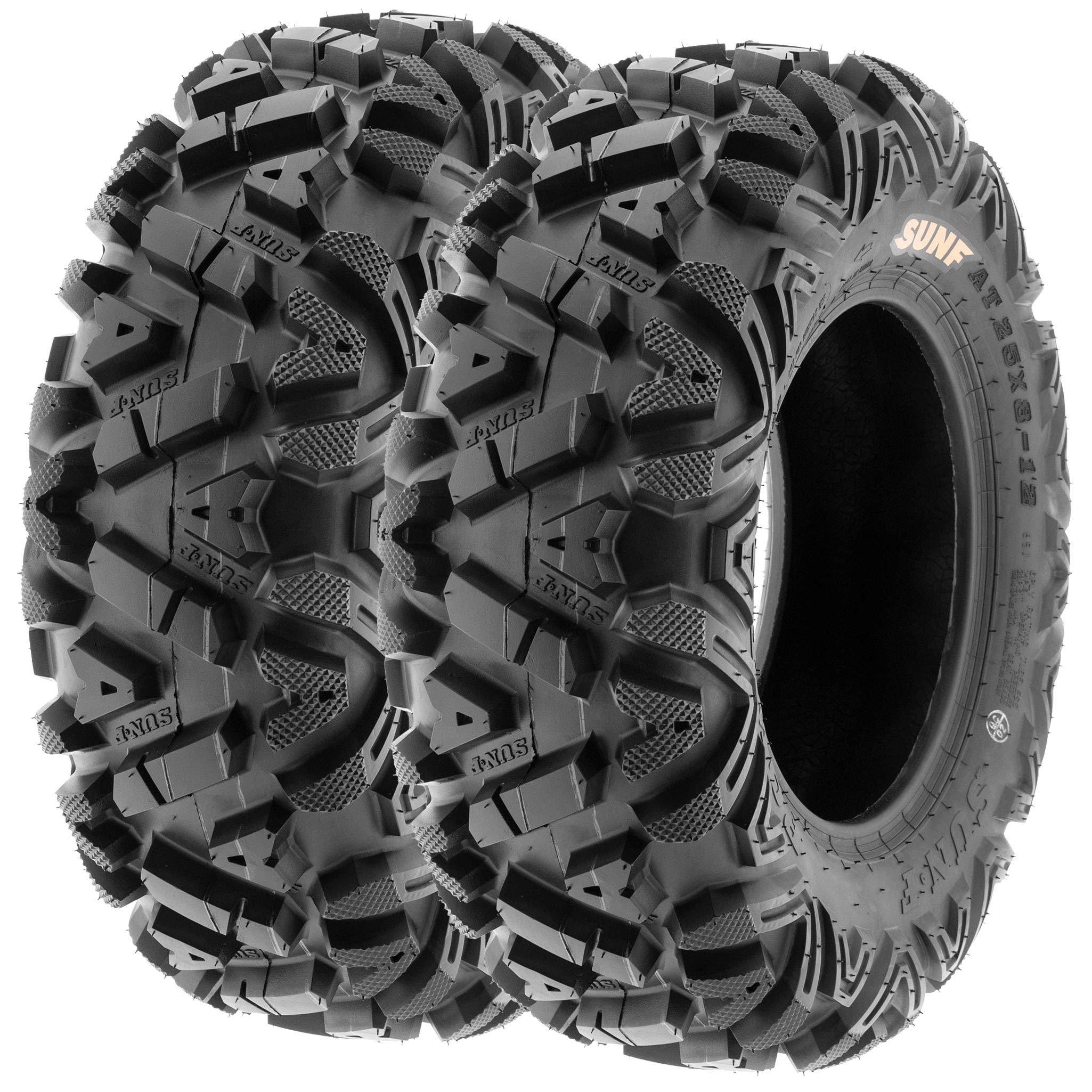 Set of 4 SunF Power.I ATV/UTV AT all-terrain Tires 24x8-11 Front & 24x11-10 Rear, 6 PR, Tubeless A033 by SUNF (Image #2)