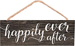 P. Graham Dunn Happily Ever After Wood Grain 10 x 3.4 Pine Wood String Sign