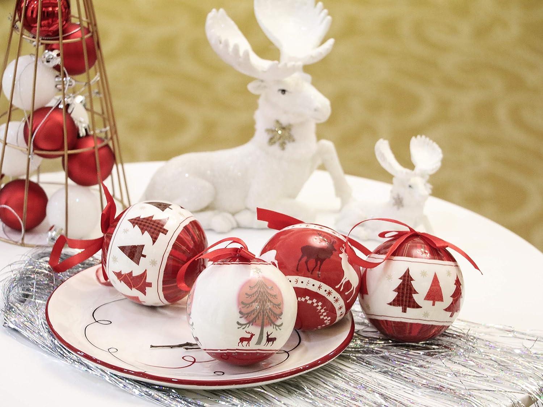 Valery Madelyn Bolas de Navidad de Decoupage Set de Regalo 14pcs 2.8Inch//7cm Adornos Navidad para Arbol Rojo Blanco y Verde Decoraci/ón de Bolas de Navidad de Inastillable Escarchado