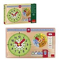 Goula - Pannello del tempo in legno, con calendario e orologio, 49 x 32 cm