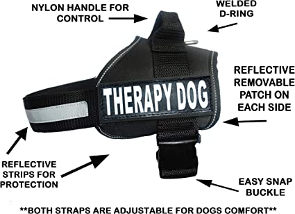 THERAPY DOG Harness Large service working vest Patches with bags Black 5 sizes