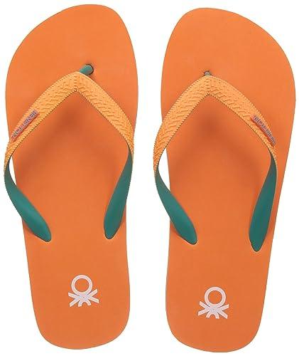 9e41db6aea22 United Colors of Benetton Men s Orange Flip-Flops and House Slippers - 10  UK