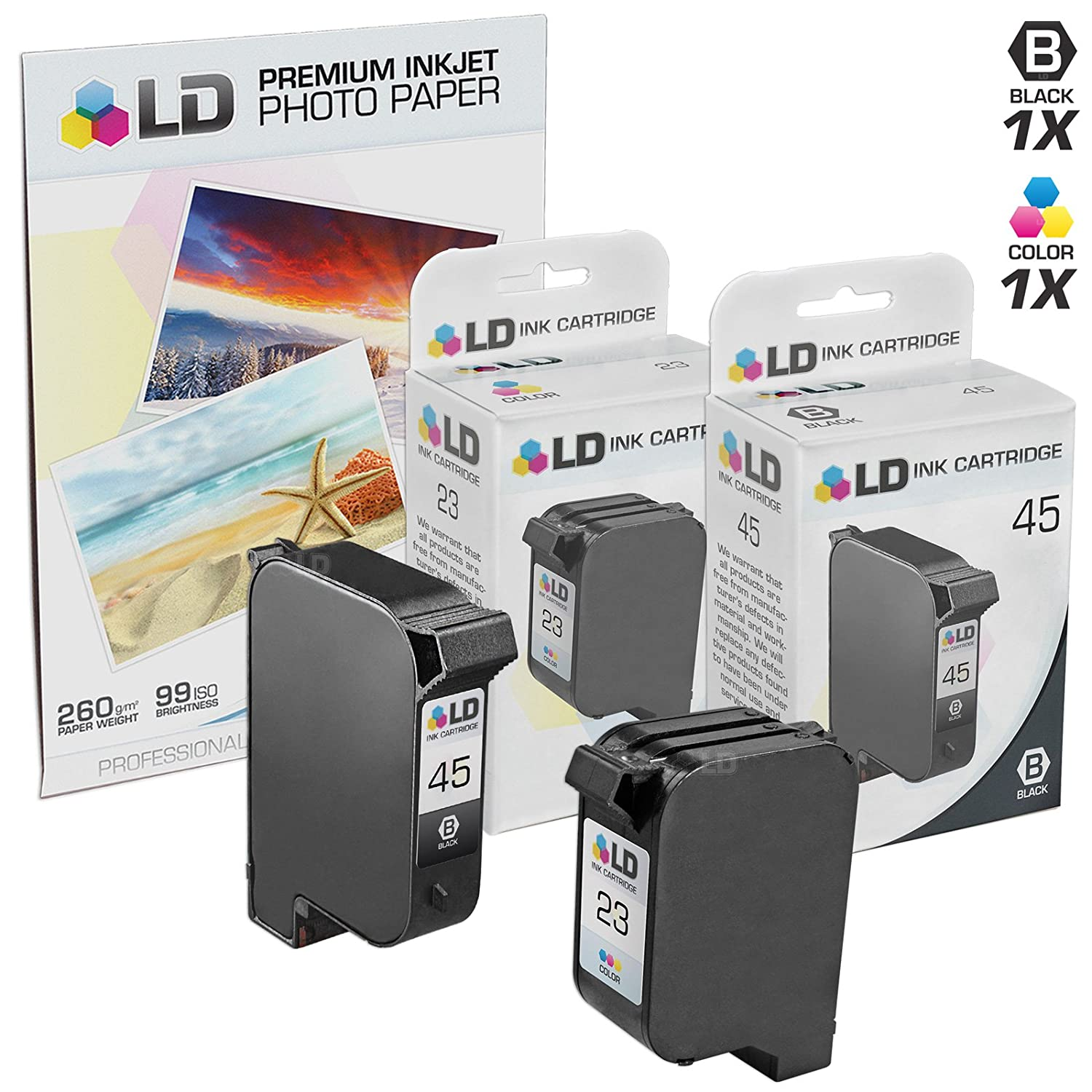 LD Remanufactured Replacement Ink Cartridges for HP 45 & HP 23 Combo Set - 1 Black HP 45 (51645A) and 1 Tri-Color HP 23 (C1283D) + Free 20 Pack of LD Brand 4x6 Photo Paper
