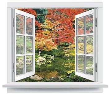 Premiumdesign Wandtattoo Fenster Ausblick In Einen Herbstlichen