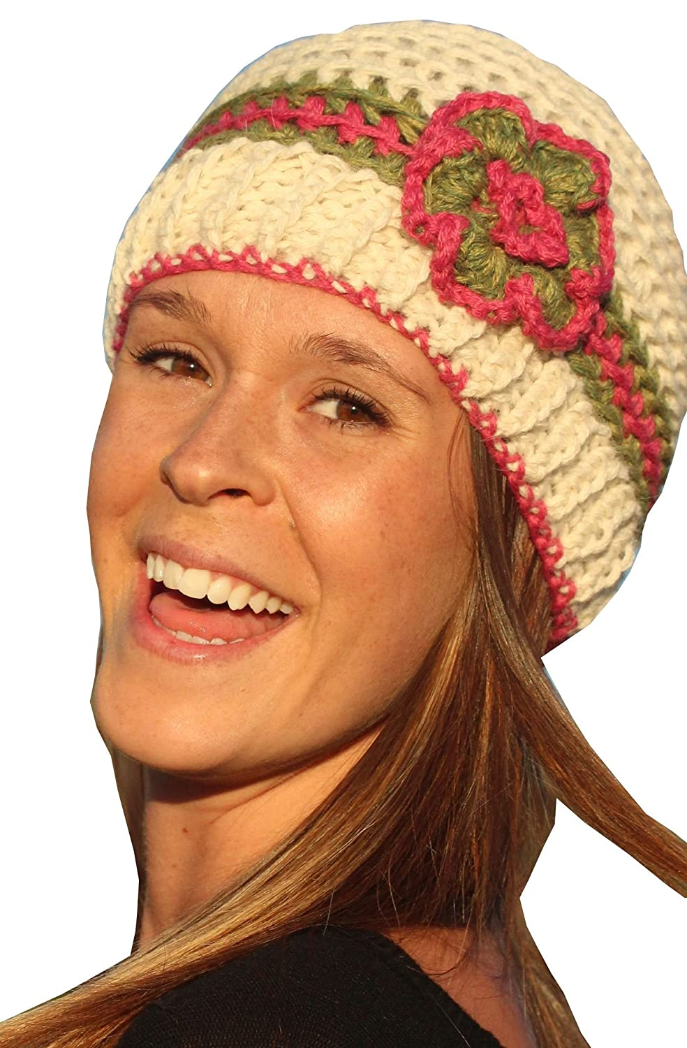 by Alpacas of Montana Hand Knit in Bozeman 6 Color Options Montana Alpaca Knit Hat with Flower