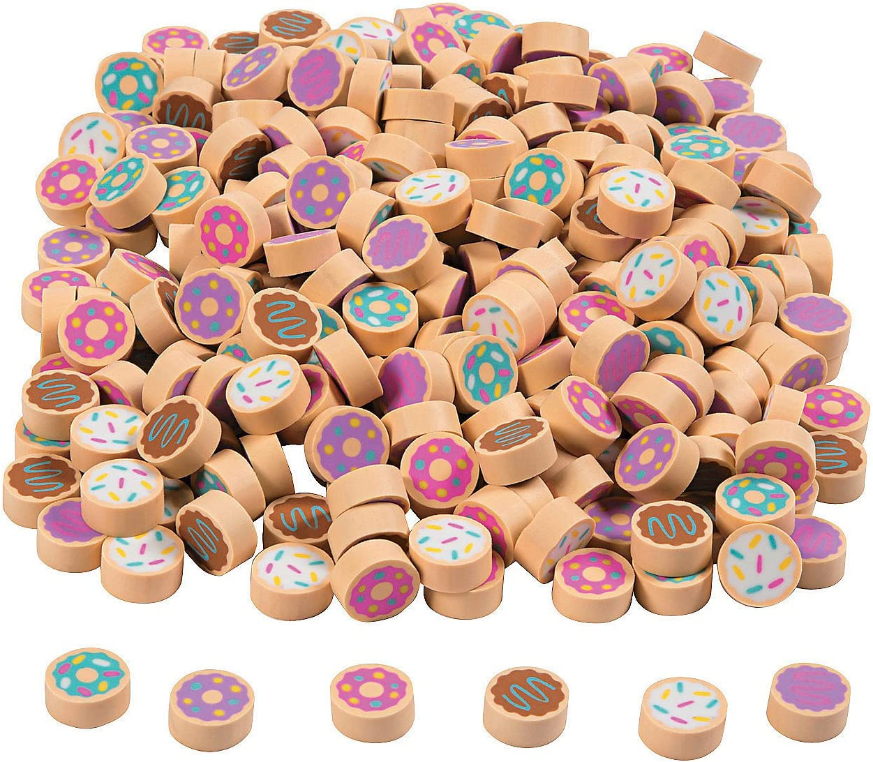 "1/"" Great for Class Room or Party favors 24 Pack Donut Erasers 3D"