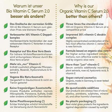 GANADOR 2020* Serum de Vitamina C ORGÁNICO con Acido Hialuronico – 3 VECES MAYOR 100ml – Doble Complejo MEJORADO 30% Vitamina C + E & Aloe Vera – Serum Facial Hecho en Alemania - Satin Naturel