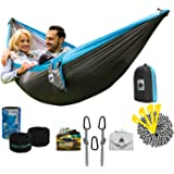 Double Camping Hammock │UNIQUE 4in1 Hammocks With Straps BEST for Stand, Tent, Bed, Swing, Tarp│Portable Lightweight Parachute Waterproof Nylon Bundle for Backpacking, Travel, Beach & Yard
