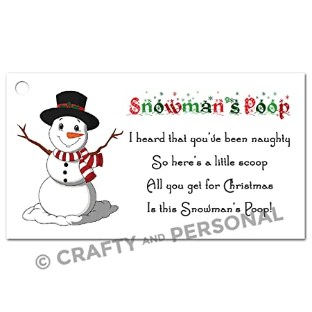 48 Snowman Poop Christmas Labels Stickers Tags Presents Xmas Santa
