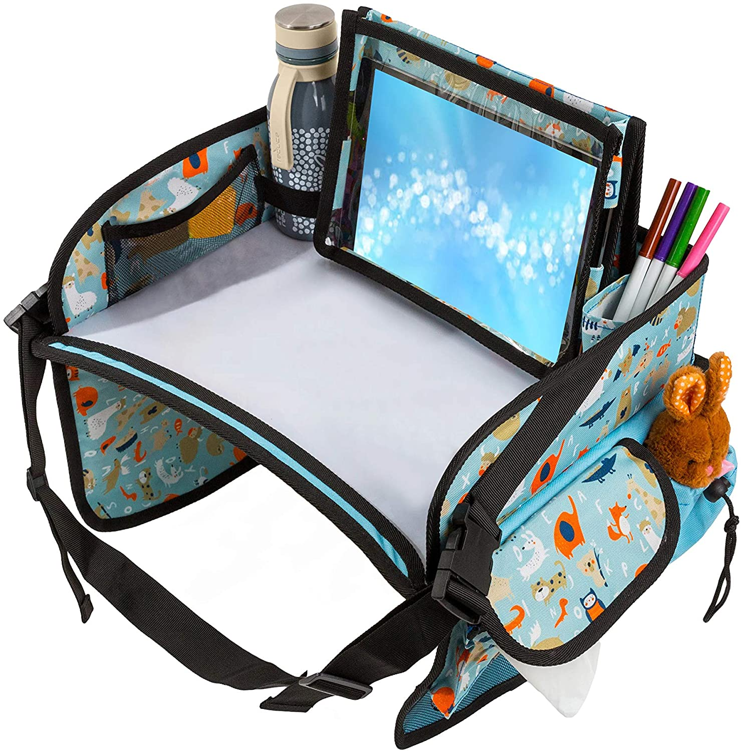 Kids Car Seat Travel Tray- Kids Car Travel Tray with Tablet Holder- Sturdy Dry Erase Board -Snack Play Draw On The Go- Lap Tray with Big Buckles- Easy Setup and Tear Down