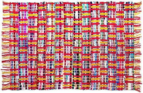 Sunrise Chindi 4×6 Area Rag Rugs Recycled Multi-Color Woven Fabric Casual
