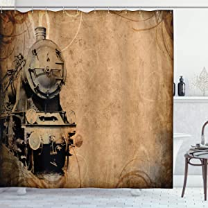 Ambesonne Steam Engine Shower Curtain, Antique Old Iron Train Aged Sepia Grunge Style Design Industrial Theme Print, Cloth Fabric Bathroom Decor Set with Hooks, 70