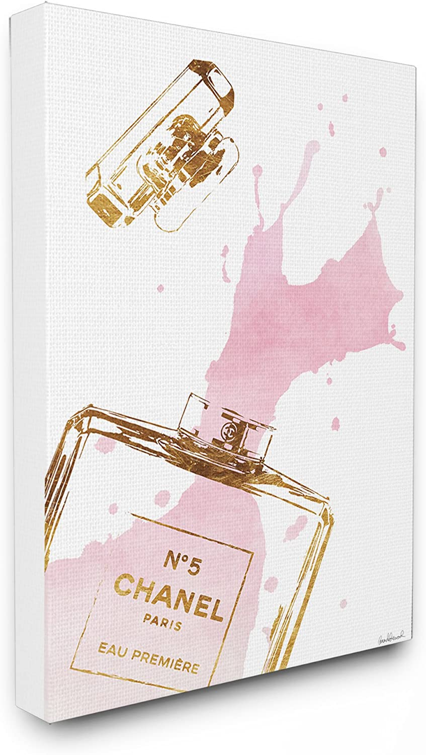 Stupell Industries Glam Perfume Bottle Splash Pink Gold Stretched Canvas Wall Art, Proudly Made in USA