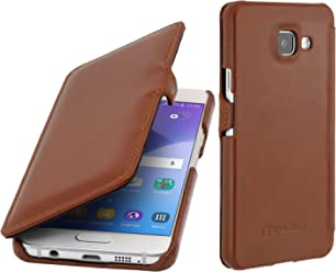 StilGut Book Type Case con Clip, Custodia in Vera Pelle per Samsung Galaxy A3 (2016), Cognac