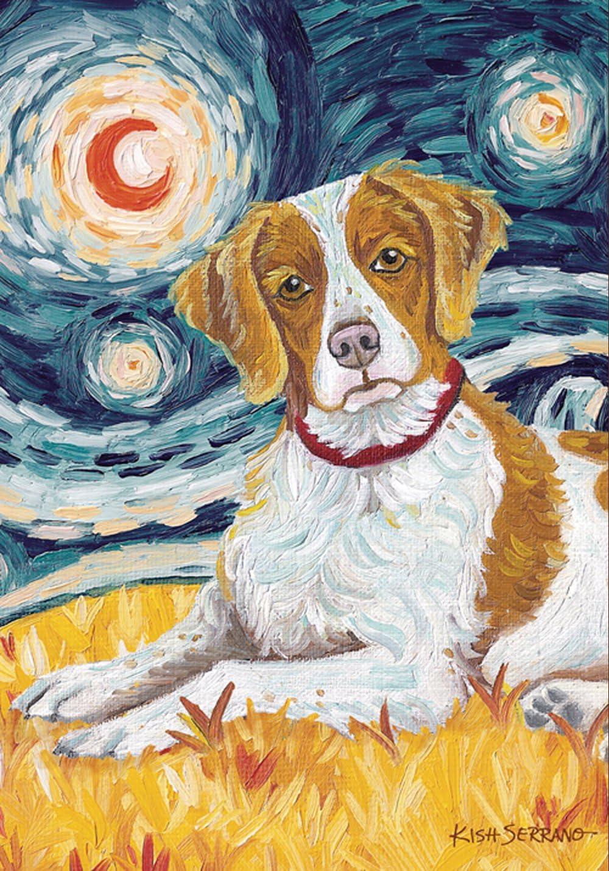 Toland Home Garden Van Growl Brittany 28 x 40 Inch Decorative Puppy Dog Portrait Starry Night House Flag