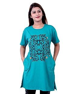 AG FASHION Women's Viscose Long T-shirt (Rama Green, XXL)