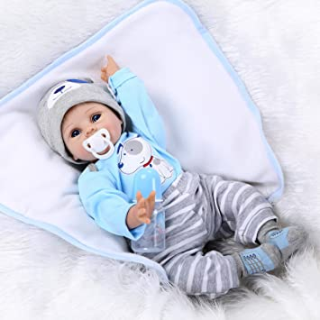Review NPKDOLLS Reborn Baby Doll Soft Silicone Vinyl baby Boy 22inch 55cm Magnetic Mouth Cute boy Wearing Toy Blue Dog cute doll Gift Set for Ages 2+