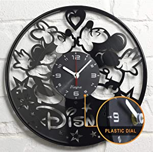 "Vinyra Vinyl Wall Clock compatible with Walt Disney World Mickey Minnie Mouse themed home - Kids Gift Idea Cartoon Characters Nursery Decoration Wall Art Decor Boy Girls Room 12"" LP record clock black"