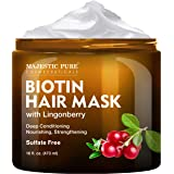 Biotin Hair Mask for Dry Damaged Hair with Lingonberry by Majestic Pure - Deep Conditioning Hair Treatment, Nourishing…