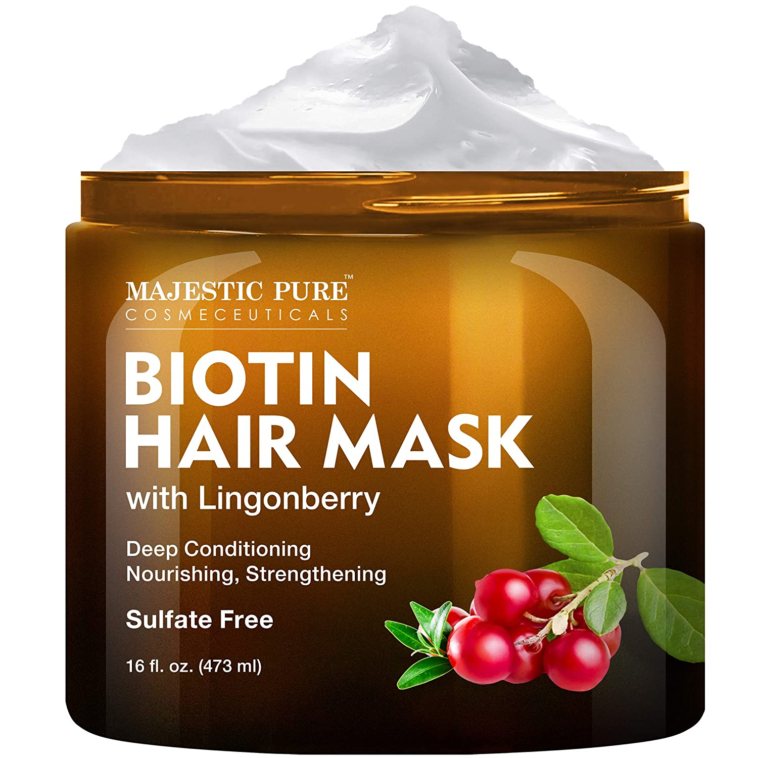 Biotin Hair Mask for Dry Damaged Hair with Lingonberry by Majestic Pure - Deep Conditioning Hair Treatment, Nourishing, and Strengthening, Sulfate Free, 16 fl oz