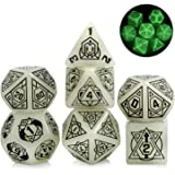 Glow in The Dark Giant DND Dice, DNDND 25mm Glowing Constellation Dice Set with Free Grogeous Metal Case for D&D…