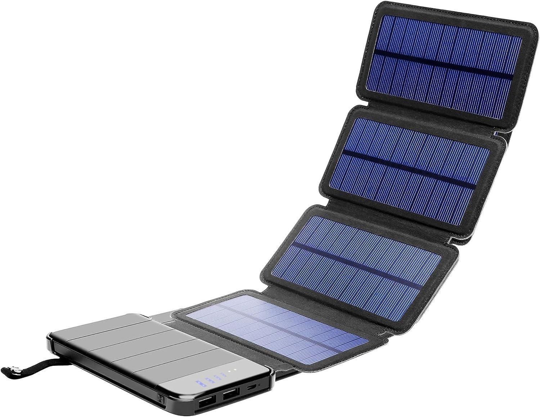 Solar Phone Charger 10.000mAh Power Bank-Portable Smartphone & iPhone Battery + Emergency Flashlight–(2) USB Ports+(4) Foldable Solar Panels-Fast ...