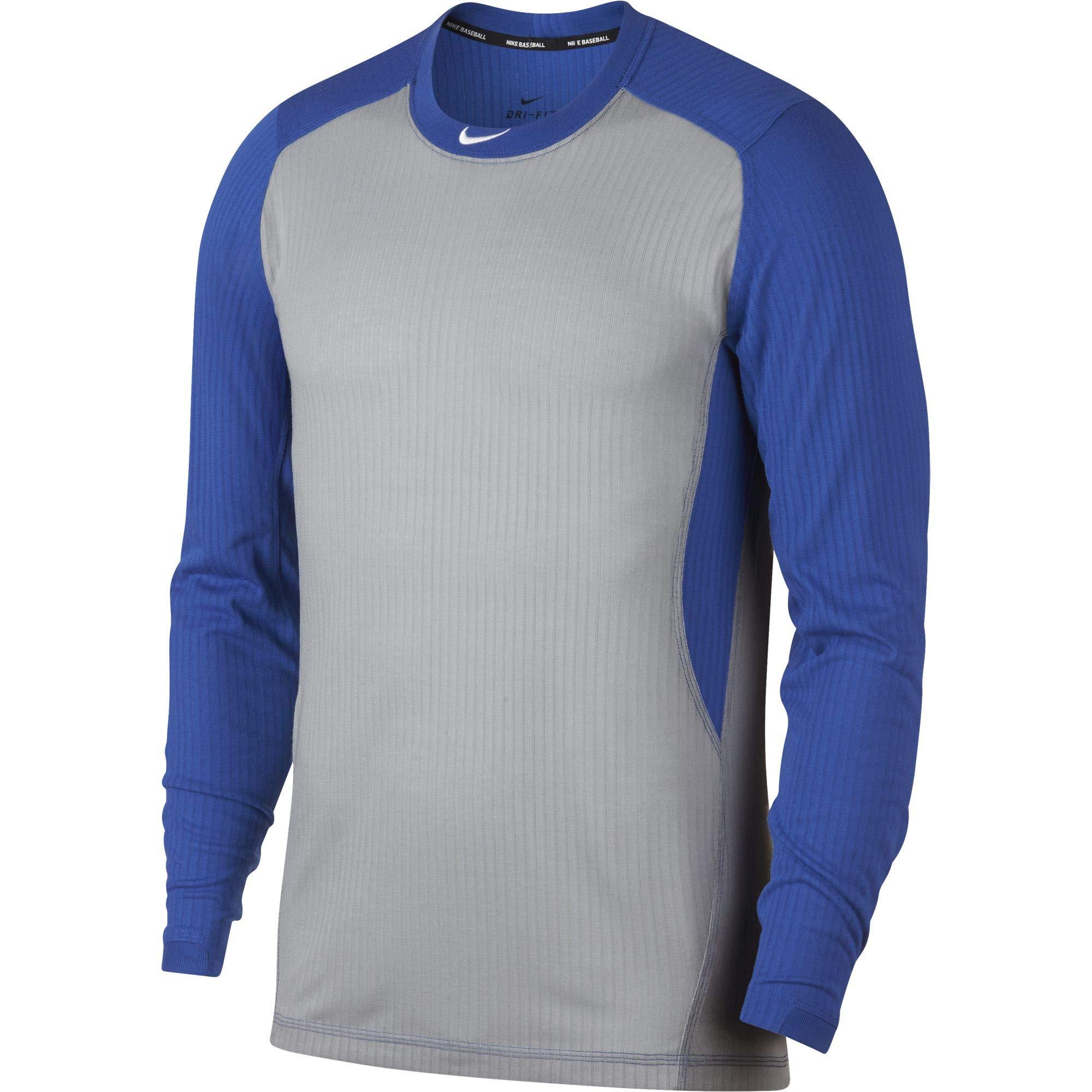 Nike Men's Long Sleeve Baseball Top Wolf Grey/Game Royal/White Size Small