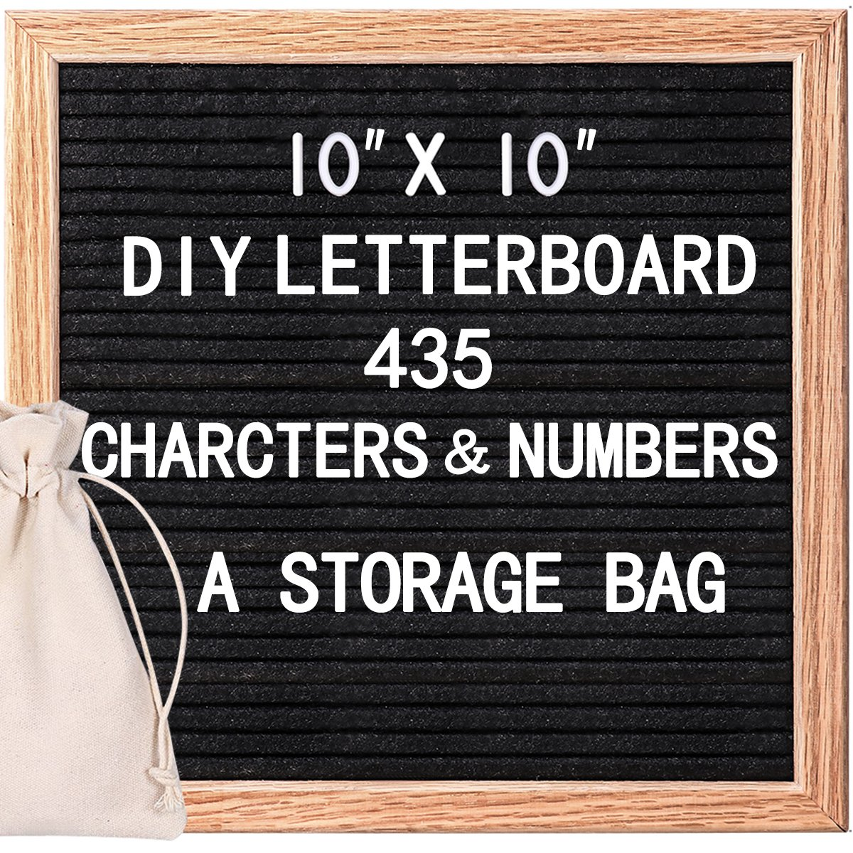 HOMEMAXS Changeable Letter Board Message Board 10x10 inches with 435 Letters Numbers & Symbols, Black Felt Letter Board, Felt Board, Word Board, Sign Board with Free Storage Bag