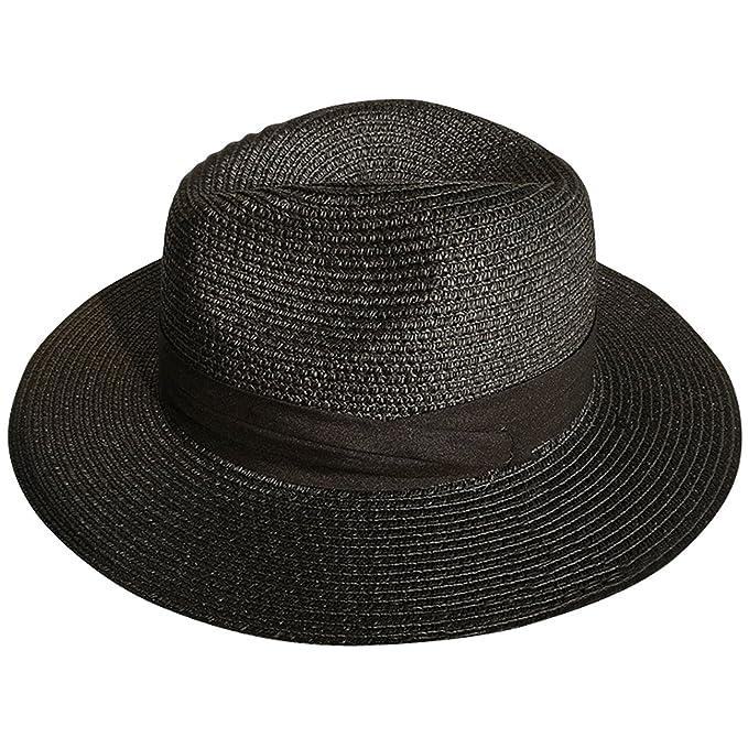 DRESHOW Sombrero de mujer con ala ancha Straw Panama Roll up Sombrero de  playa Fedora UPF50 +  Amazon.es  Ropa y accesorios 5faa90aceef